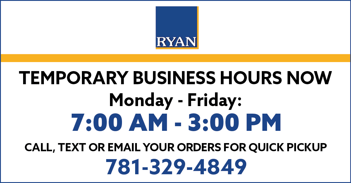 Temporary Hours 7am-3pm, Monday-Friday. Call, text or email orders for quick pickup 781-329-4849